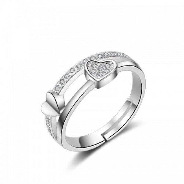 Inel argint logodna 2 Inimi