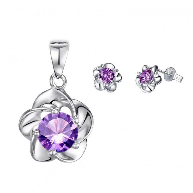 Set argint femei S925 floare mov Daisy