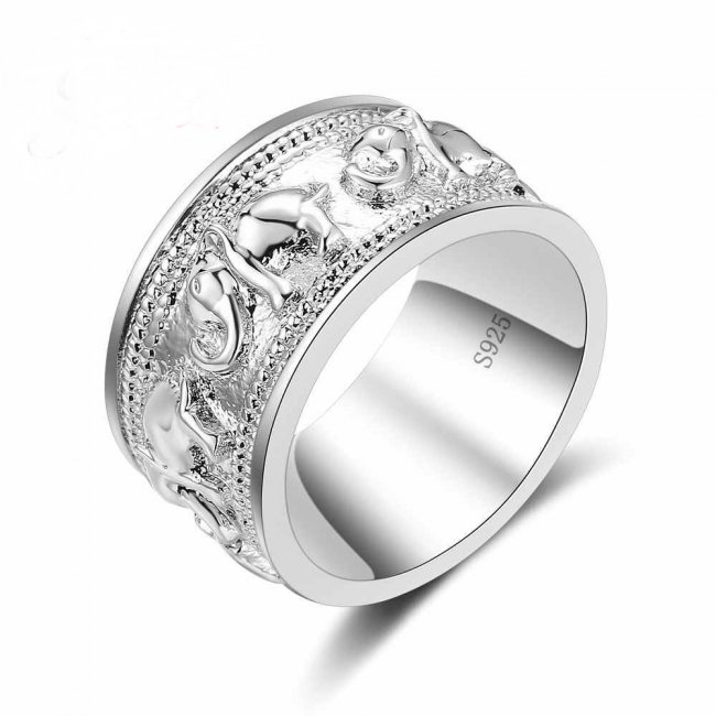 Tibet silver elephant ring size 17mm