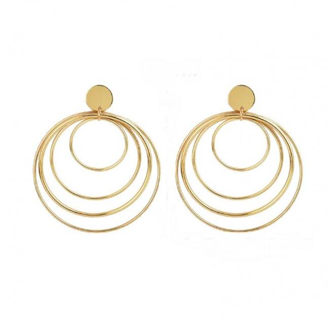 Cercei femei placati cu aur 14k Vintage Cerc Dublu