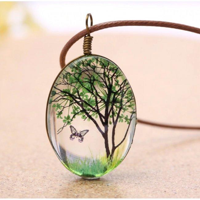 Colier femei cu pandantiv cu floare uscata in sticla Life Nature Kelan