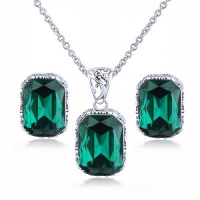 Set argint Green Saphir Royal Elemente Swarovski