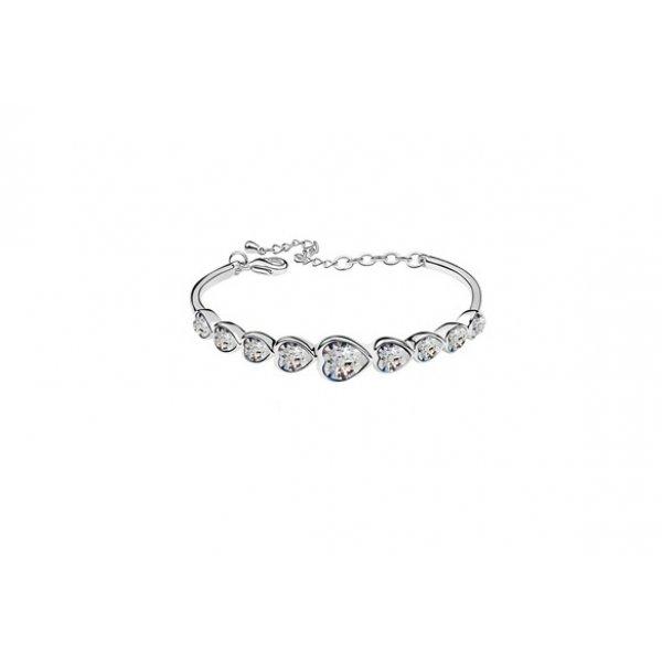 Bratara  argint cu elemente swarovski silver  inimi cristale