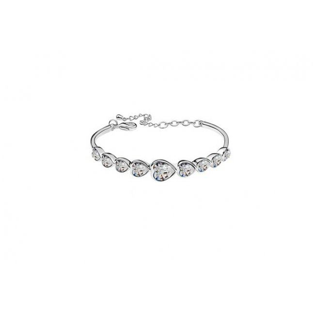 Silver bracelet with swarovski silver crystal hearts elements