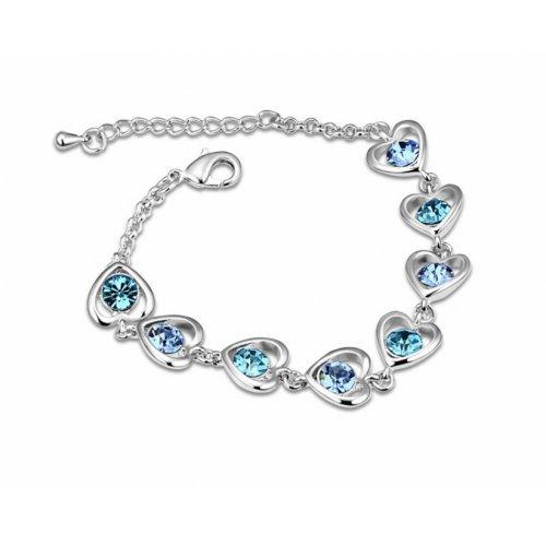 Bratara argint femei cu Inimioare albastre si Cristale SW