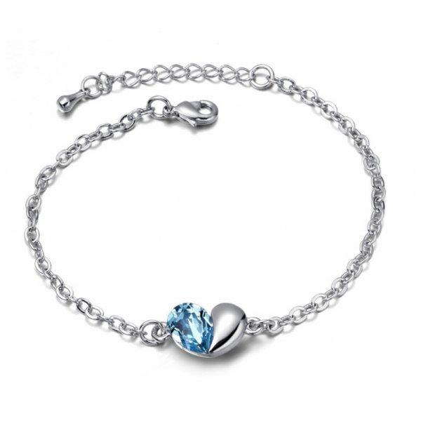 Bratara argint femei cu model Inima Unconditional Love cu Cristale SW albastru Aquamarine
