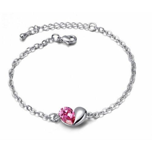 Bratara argint femei cu model Inima Unconditional Love cu Cristale SW roz Pink