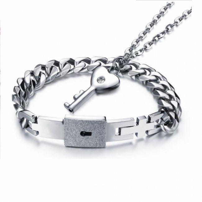 Bratara barbati otel Titanium model cu inchizatoare cu cheie si lantisor femei cuplu