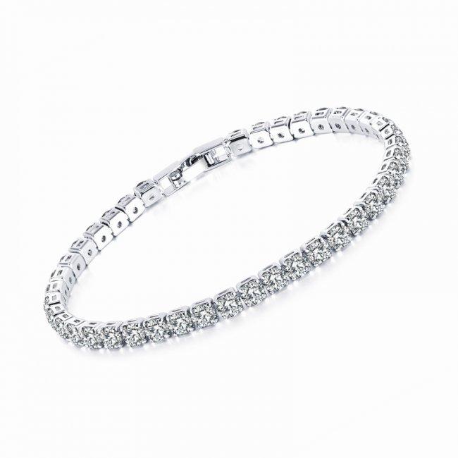Bratara argint cu elemente Swarovski cristalin alb square