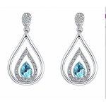 Cercei argint cu Cristale SW albe si albastre Tear Aquamarine