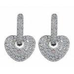 Cercei argint femei Inima acoperite cu Cristale SW albe Crystal