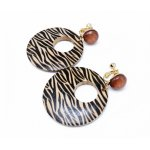 14k gold plated African Print circle clip earrings