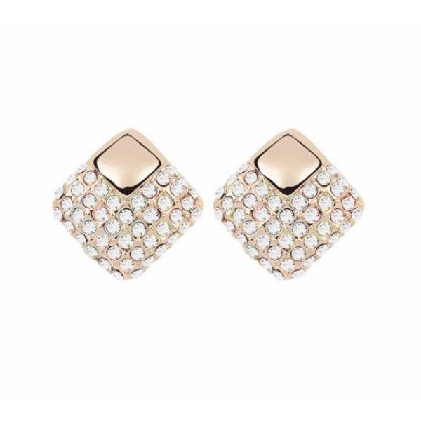 Cercei placati cu aur 14K cu Cristale SW albe Cristal Romb