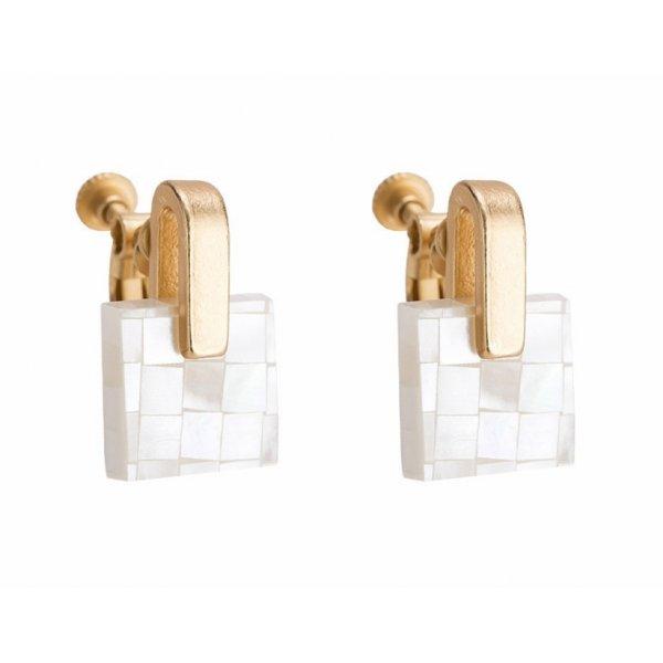 Cercei placati cu aur 18k femei clip (cu clips) Mozaic alb