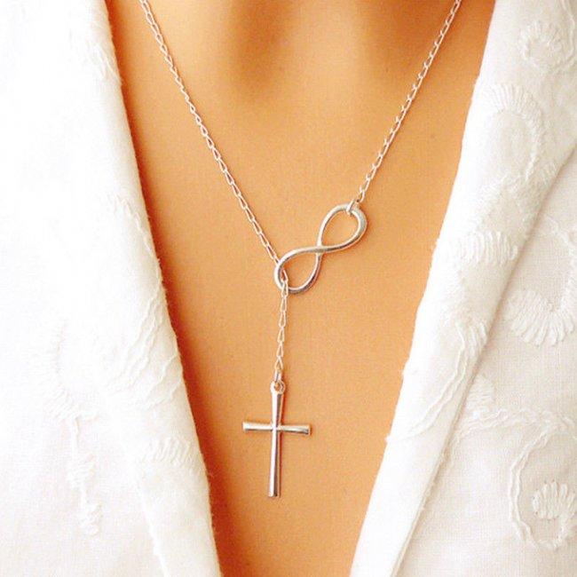 Infinity women's silver cross necklace