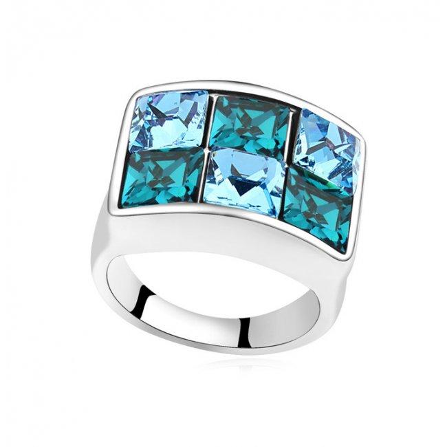 Inel argint elemente swaroski Blue Lagoon