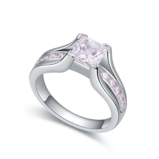 Unique women's silver ring with white swarovski elements