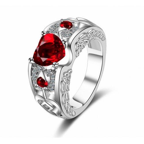 Inel argint femei cu Cristale SW Inima Red Drop