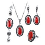 Silver set with marcasite 4 pieces coral