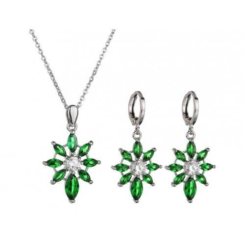 Set argint cu Green Force cu Cristale SW Emerald verde