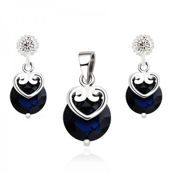 Set argint cu elemente swarovski blue  4 drops