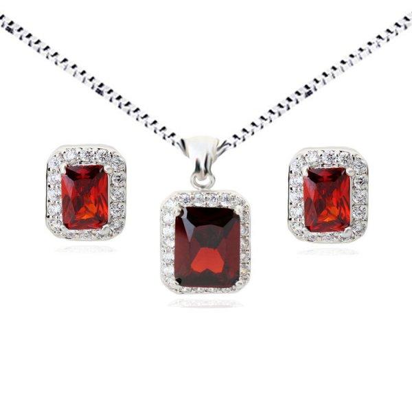 Set argint lant, pandantiv si cercei cu elemente swarovski rubin drops square