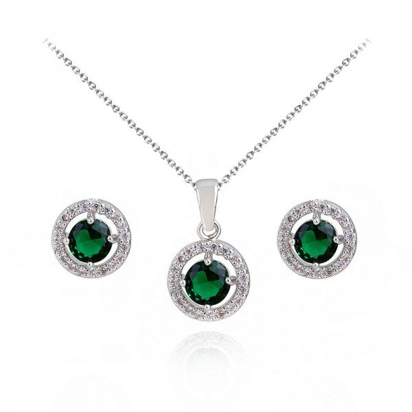 Set argint lant, pandantiv si cercei cu elemente swarovski smarald drops circle