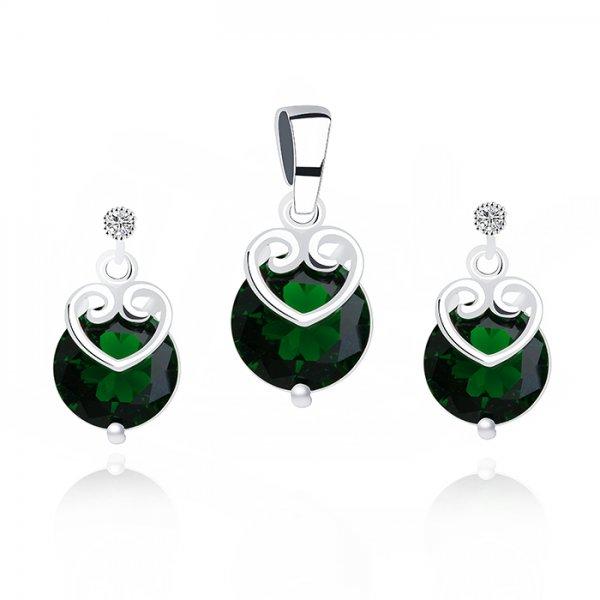 Set argint lant, pandantiv si cercei cu elemente swarovski smarald inimi drops