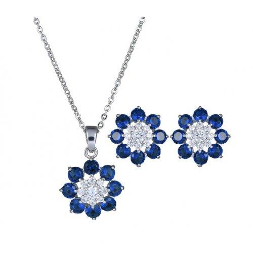 Set argint femei Blue Flowers cu Cristale SW albastru si alb