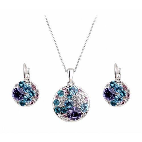 Set argint femei Cirle of Earth cu Cristale albastru si mov