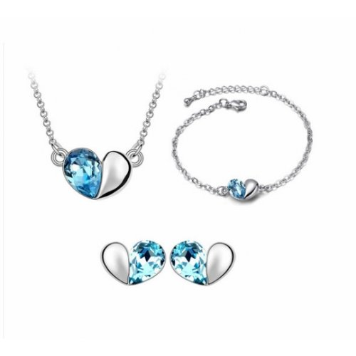 Set argint femei Inima cu bratara si Cristale SW Aquamarine