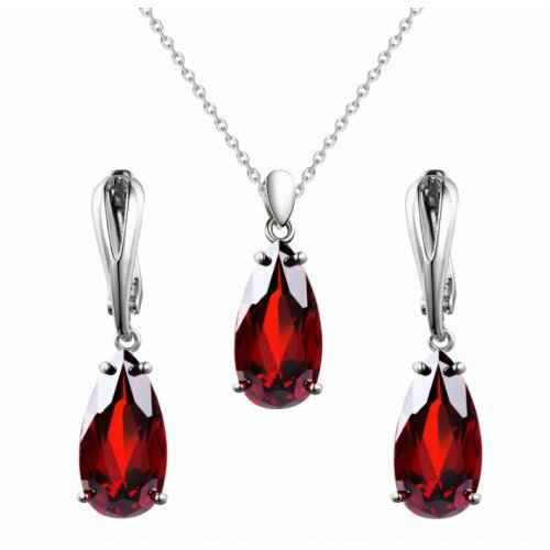 Set argint femei cu Cristale SW rosii Red Drops