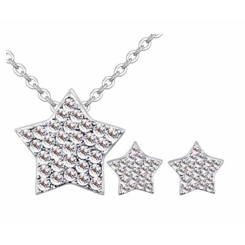 Set argint femei stea Stars alb cu Cristale SW Crystal