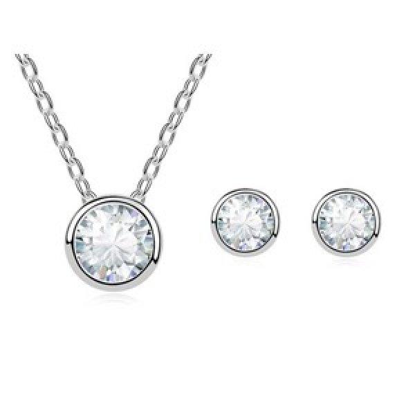 Set argint lant, pandantiv si cercei cu elemente swarovski drops white cristal