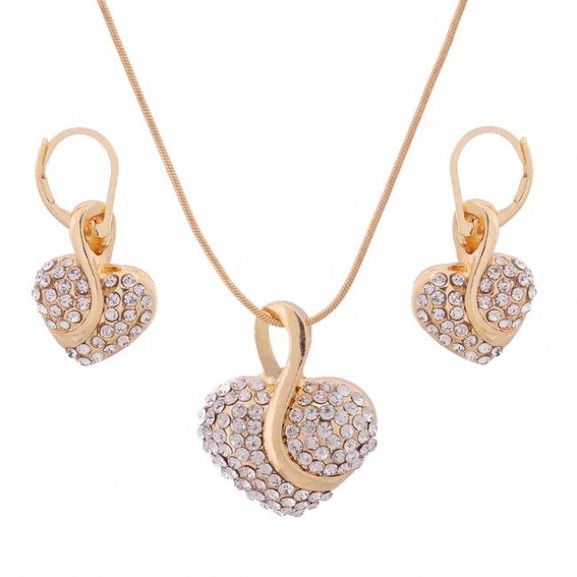 Set fashion pandantiv si cercei Inima cu cristale