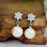 Cercei argint Pearl Crystal Flower