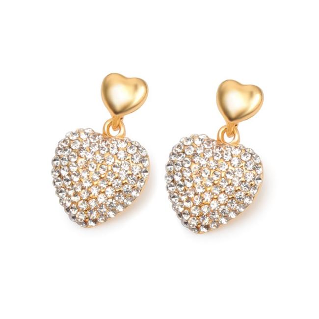 Cercei argint si elemente SW placat cu aur 14K  Inima Crystal