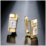 14K gold plated earrings with SW Cleo crystal elements