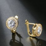 14k gold plated earrings with round SW Cystal elements