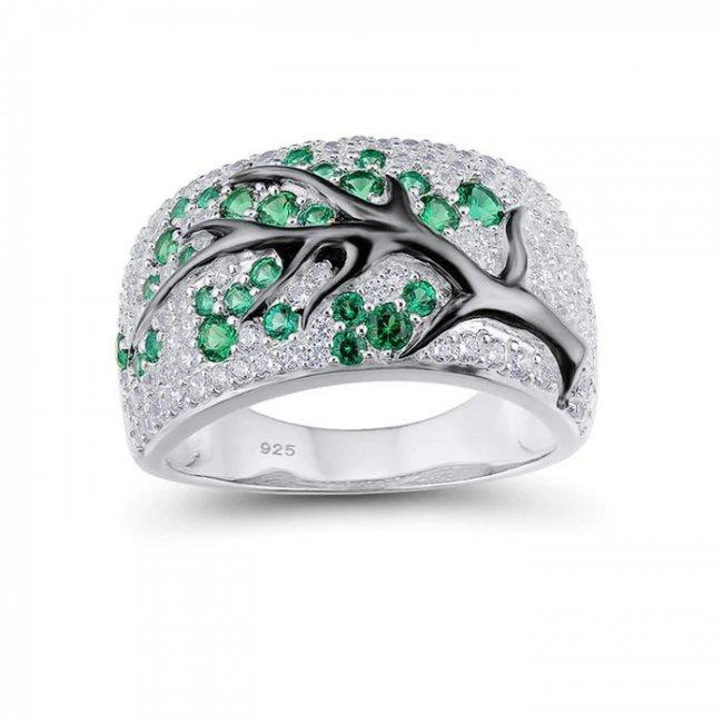 Inel argint cu elemente SW Ramura de Copac Crystal Verde