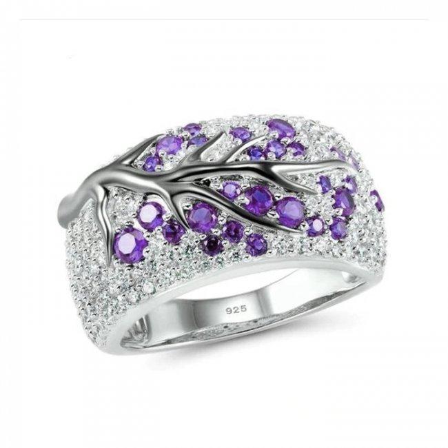 Inel argint cu elemente SW Ramura de Copac Crystal Violet