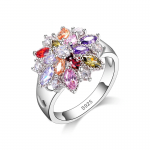 Silver ring with multicolored Big Flower swarovski elements