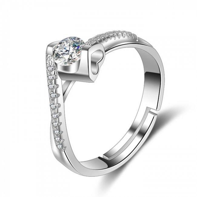 Inel argint logodna  placat cu aur si elemente SW Love Purity