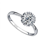 Silver engagement ring with Swarovsky Flower Crown elements