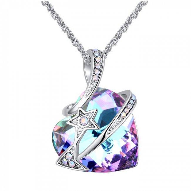 Colier argint cu elemente SW Heart Star Crystal Mov
