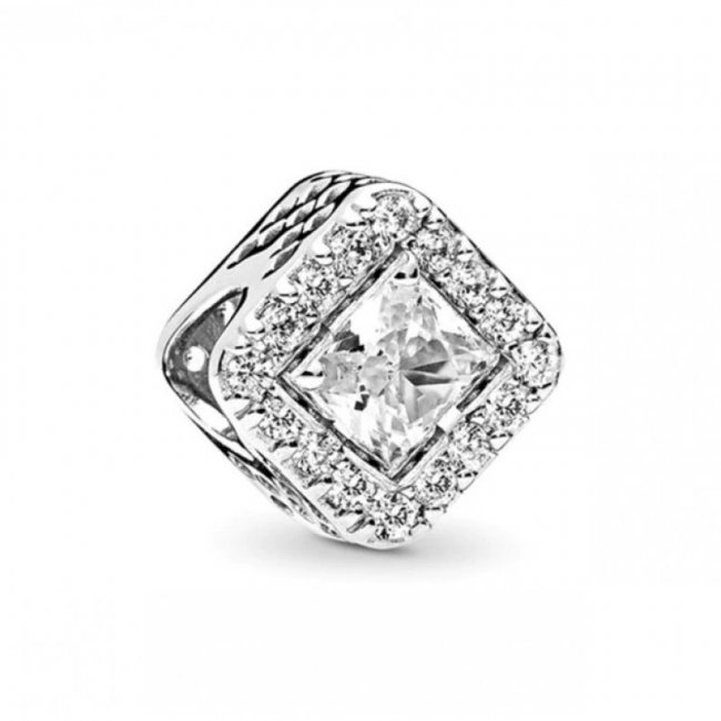 Charm Talisman Argint Cristal Square