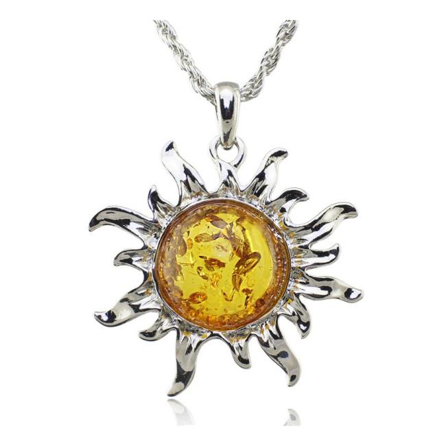 Colier argint cu chihlimbar  Soare