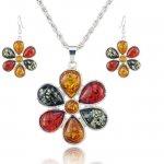Set  argint cu chihlimbar  multicolor model Floare de Lotus
