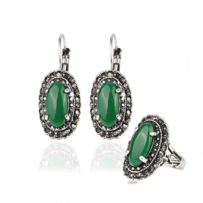 Set argint cercei cu inel austrain crystal smarald Drop