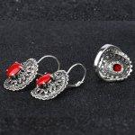 Vintage silver set austrian crystal mat red